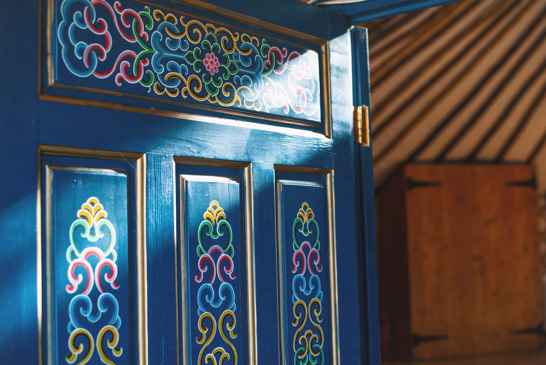 Decorative painting on yurt door