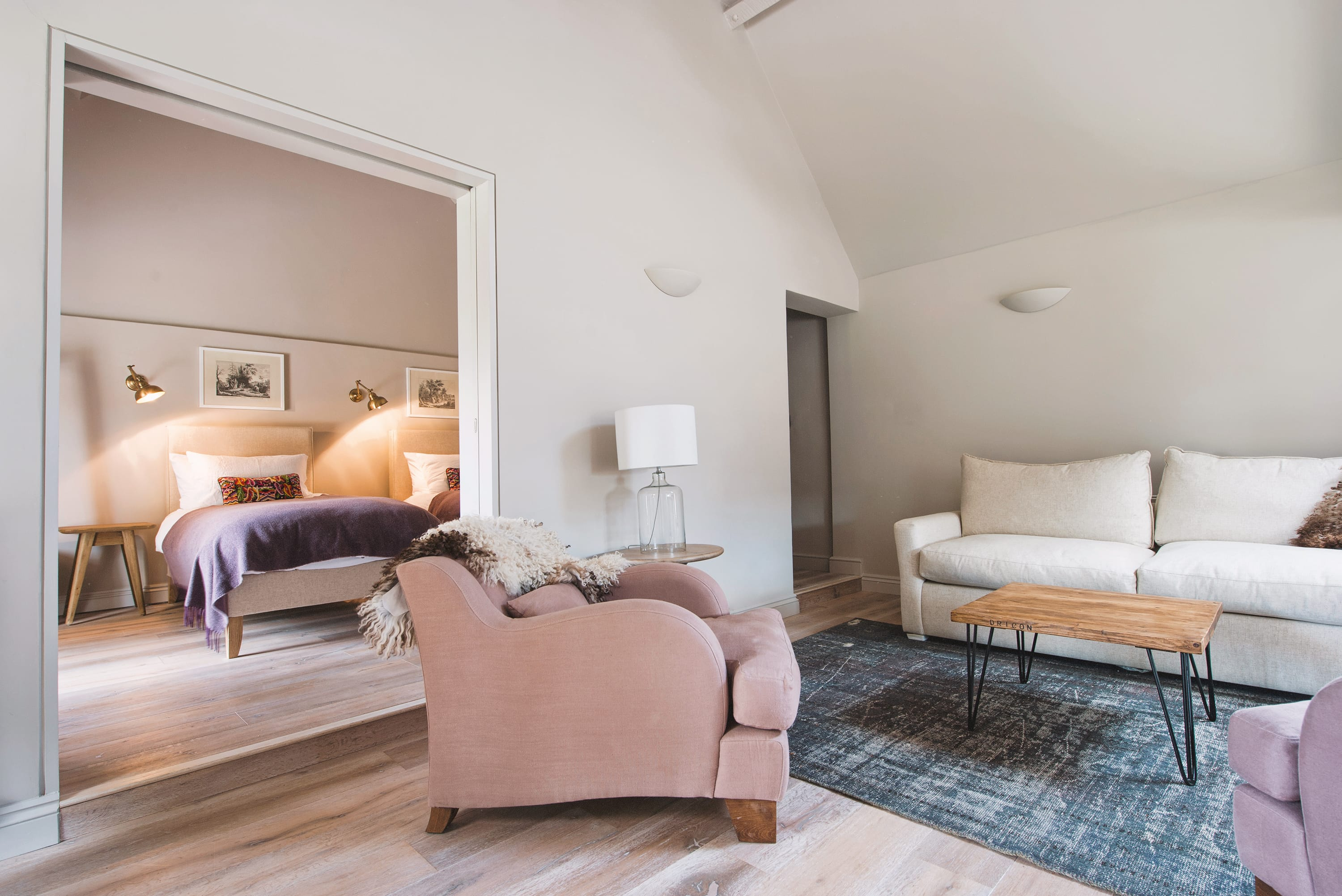 Living space with bedroom in the background