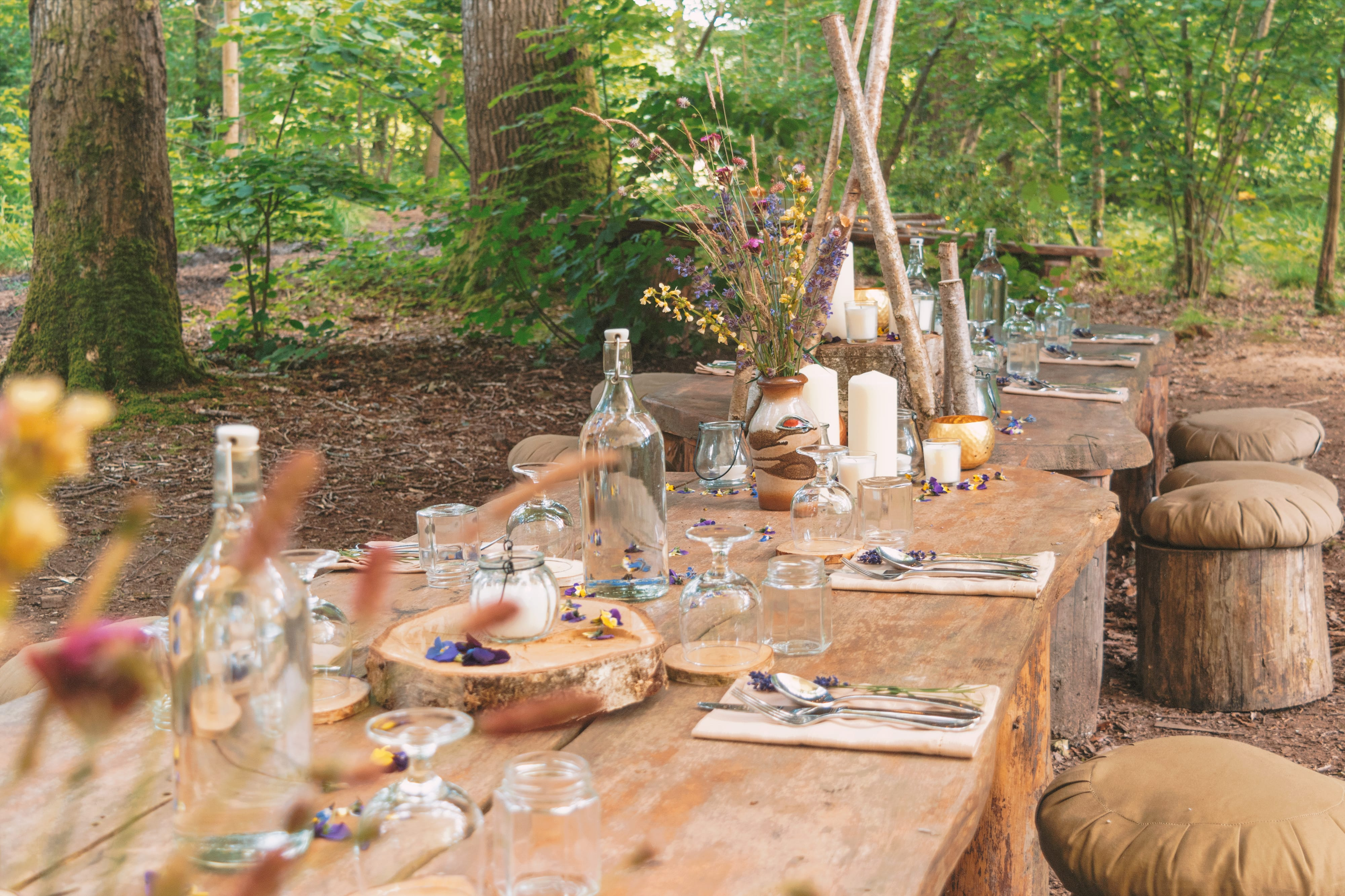 Outdoor forest dining area table