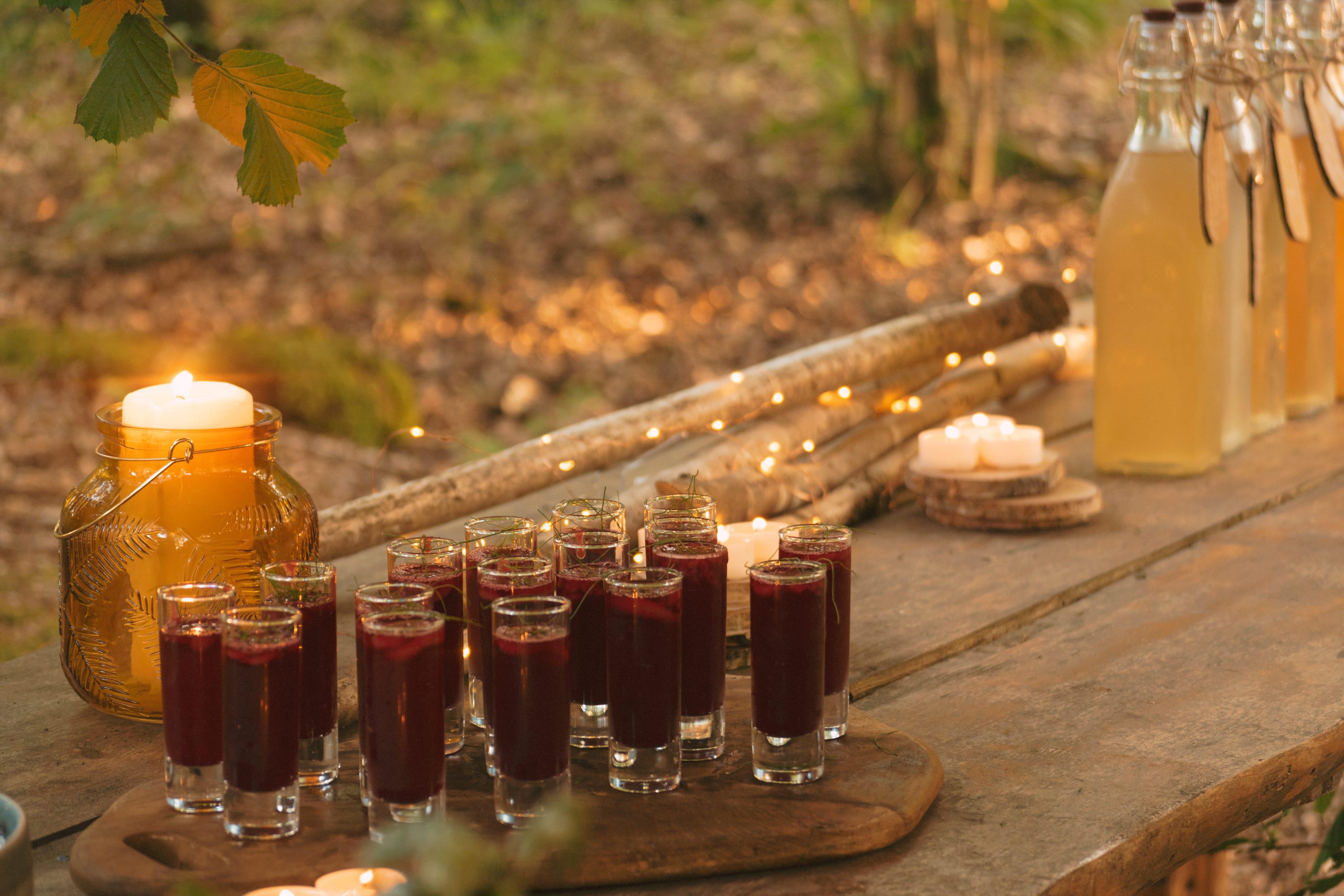 Delicious fruity juice shots