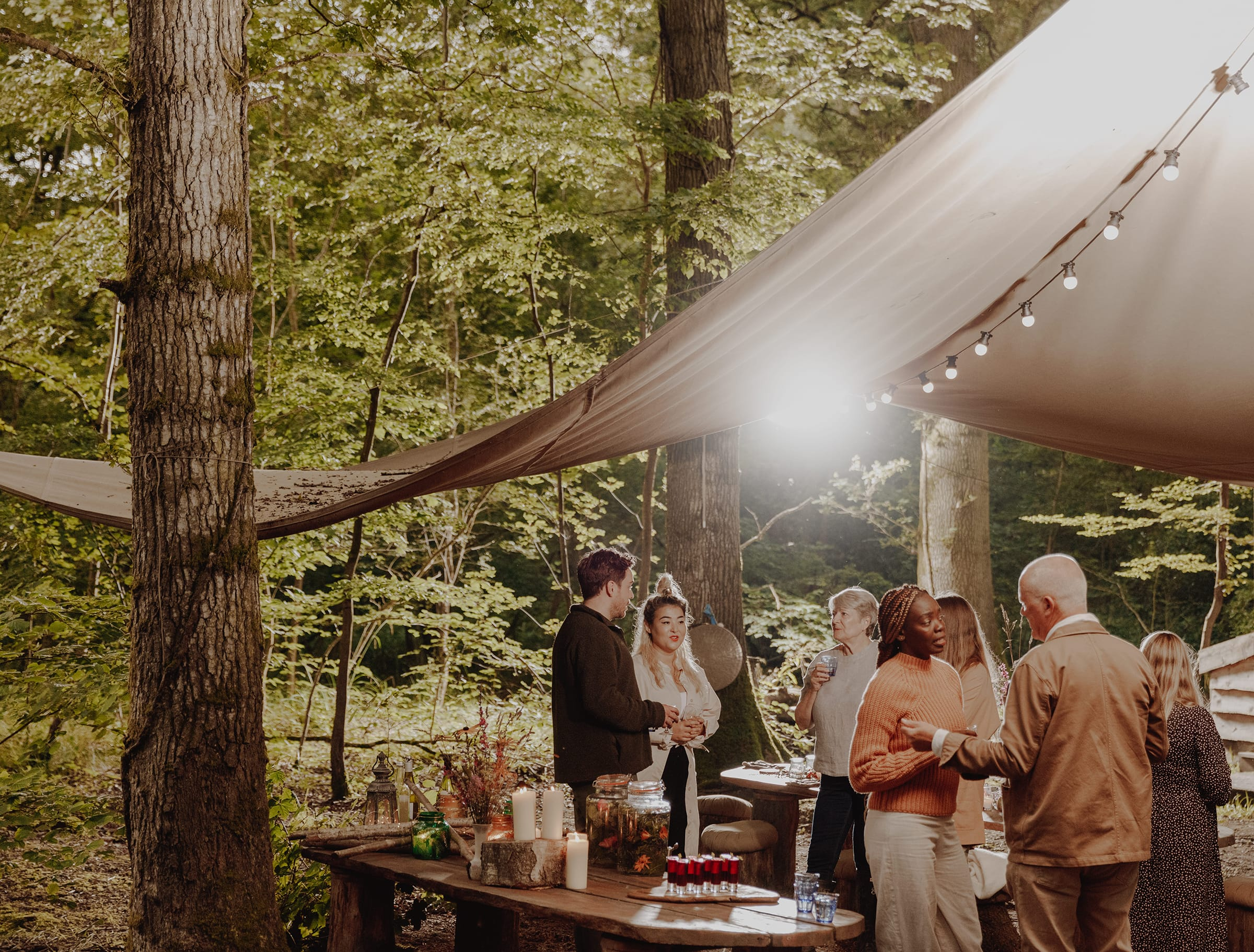 group in the forest dining area