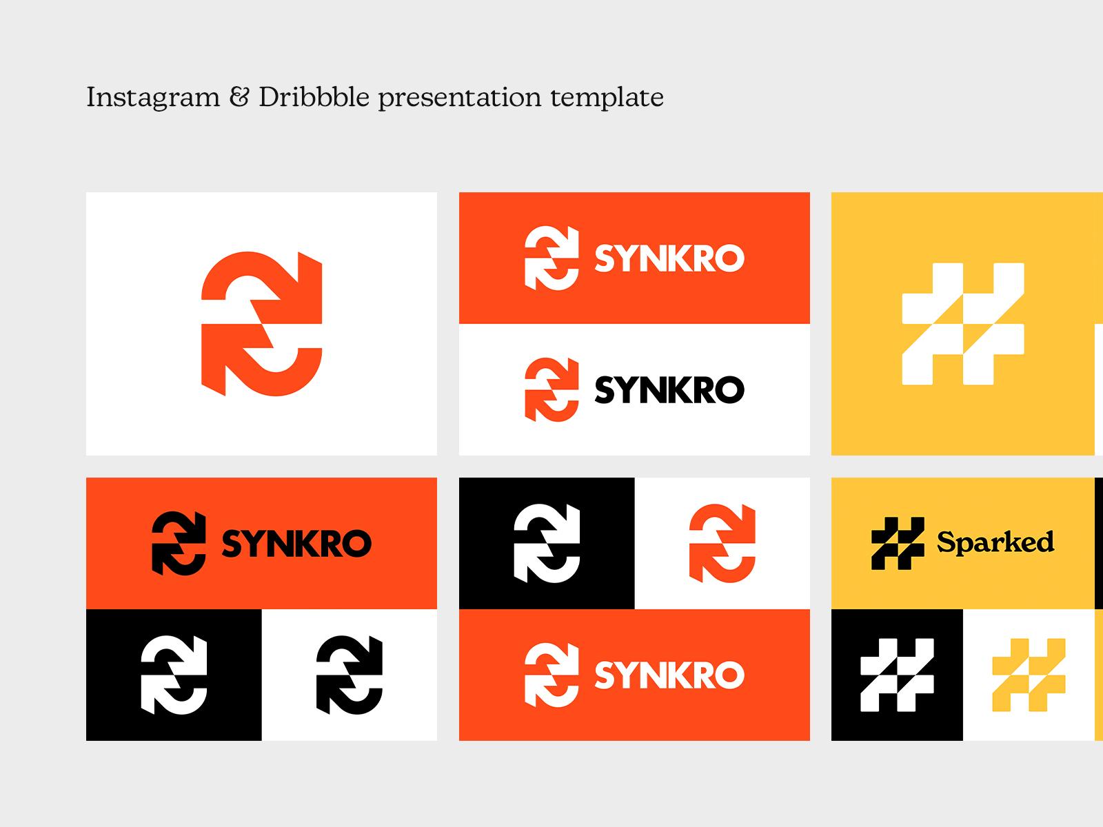 Instagram & Dribbble Logo Presentation Template (Free)