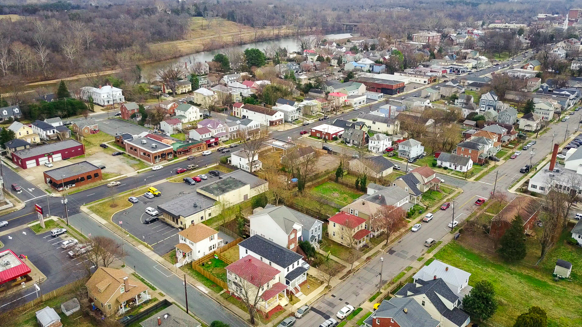 Arial view of the proposed Fredericksburg Art District