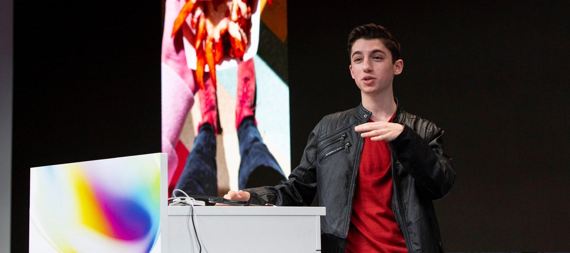 Eitan Bernath speaking at the Instagram NEXT conference in October 2019