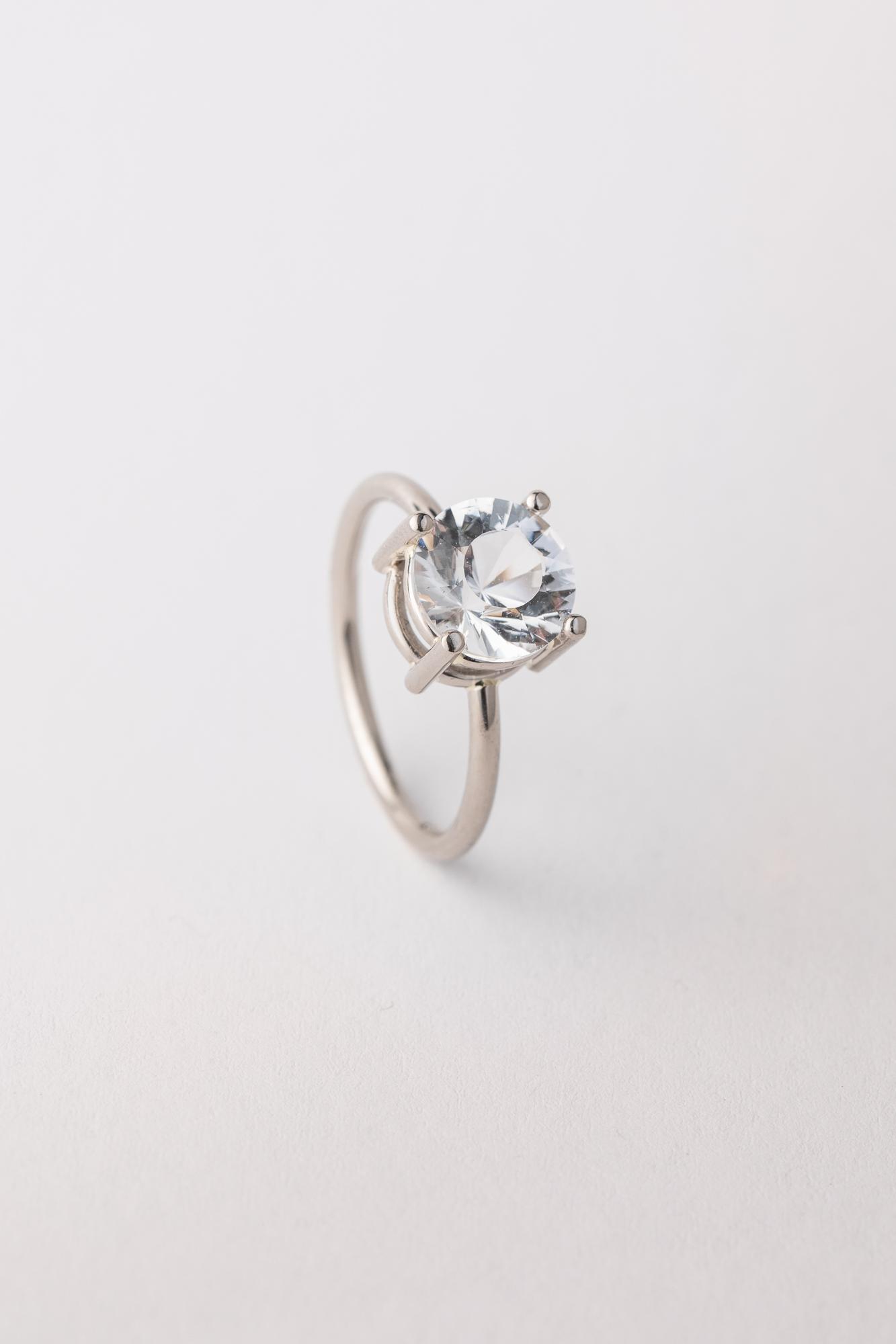 Foto von Ring in Weissgold mit Bergkristall