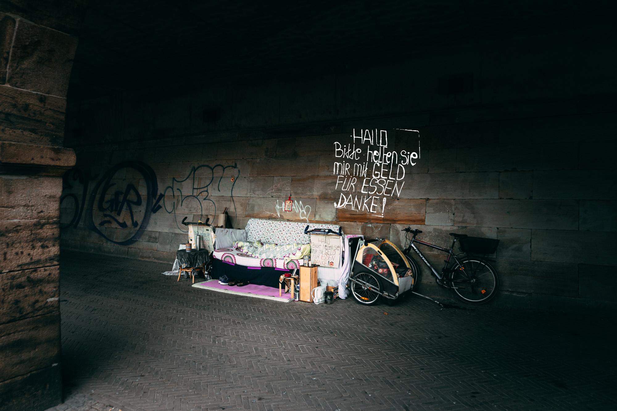 Doku-Foto von Obdachlosem in Bremen