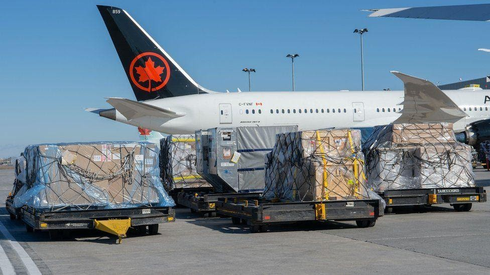Air Canada plane with cargo