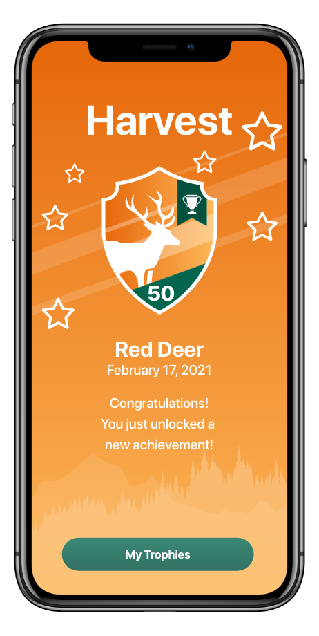 Red deer Badge earned from logging in hunting harvests and sightings.