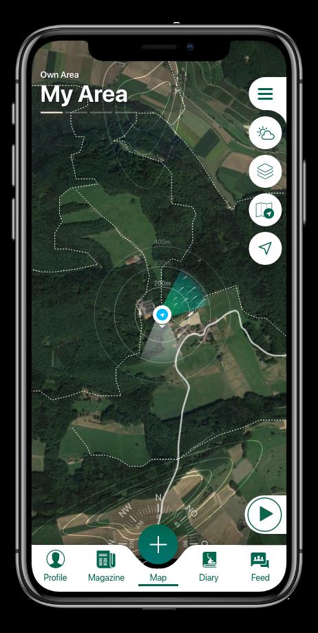 Hunting map layers, shooting range, hunting area