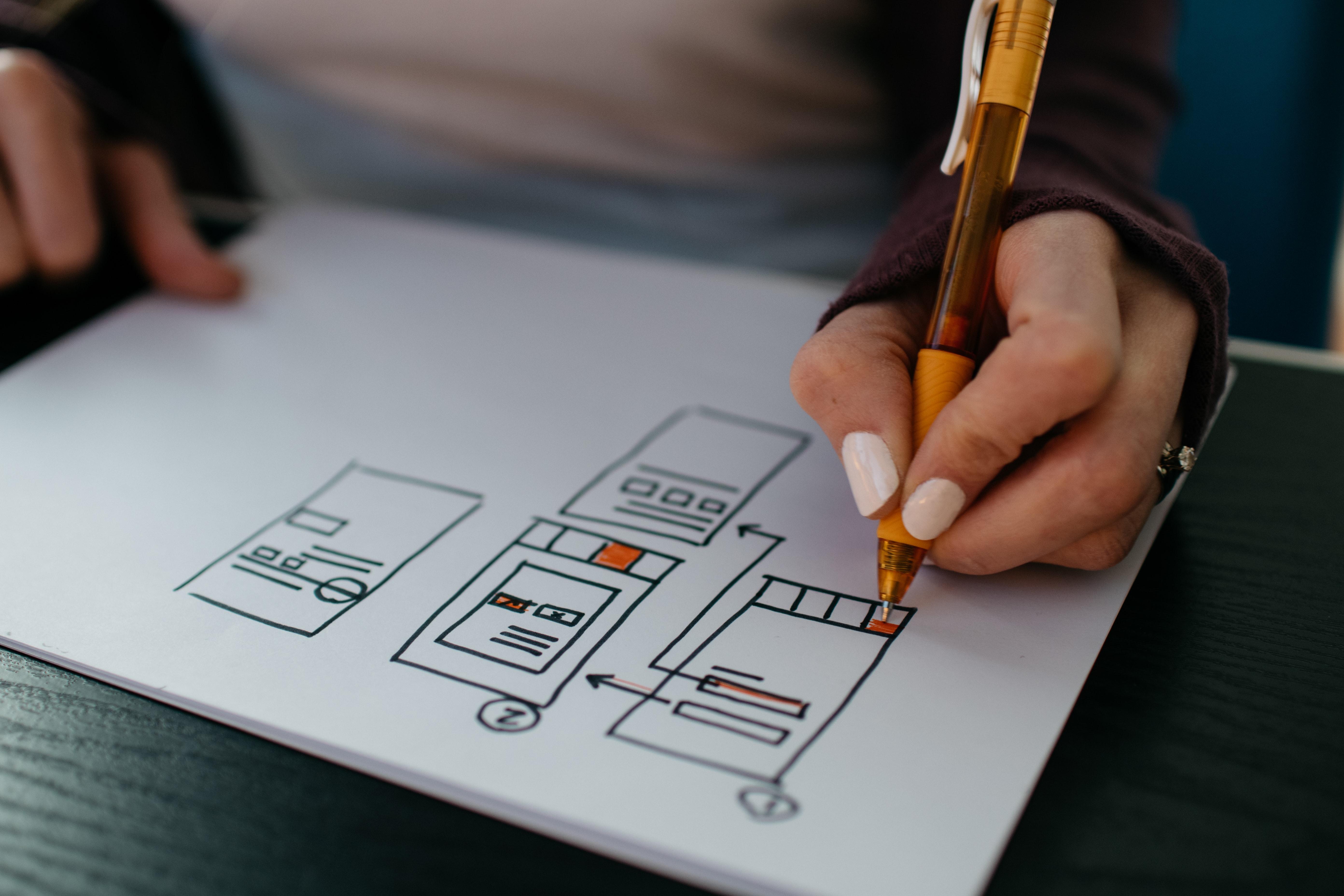 Image of designer wireframing.