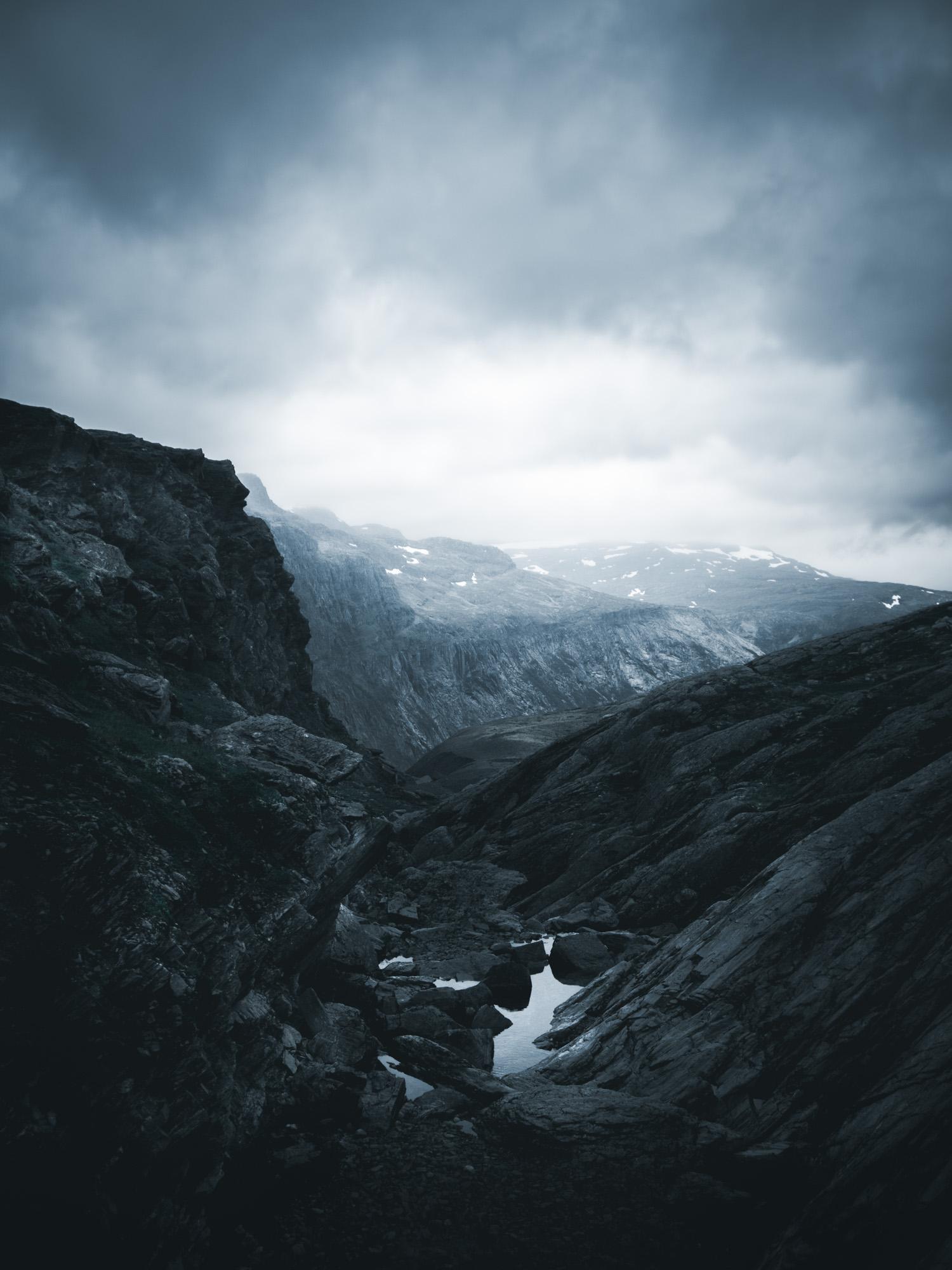 Berglandschaft in Norwegen nahe Trolltunga