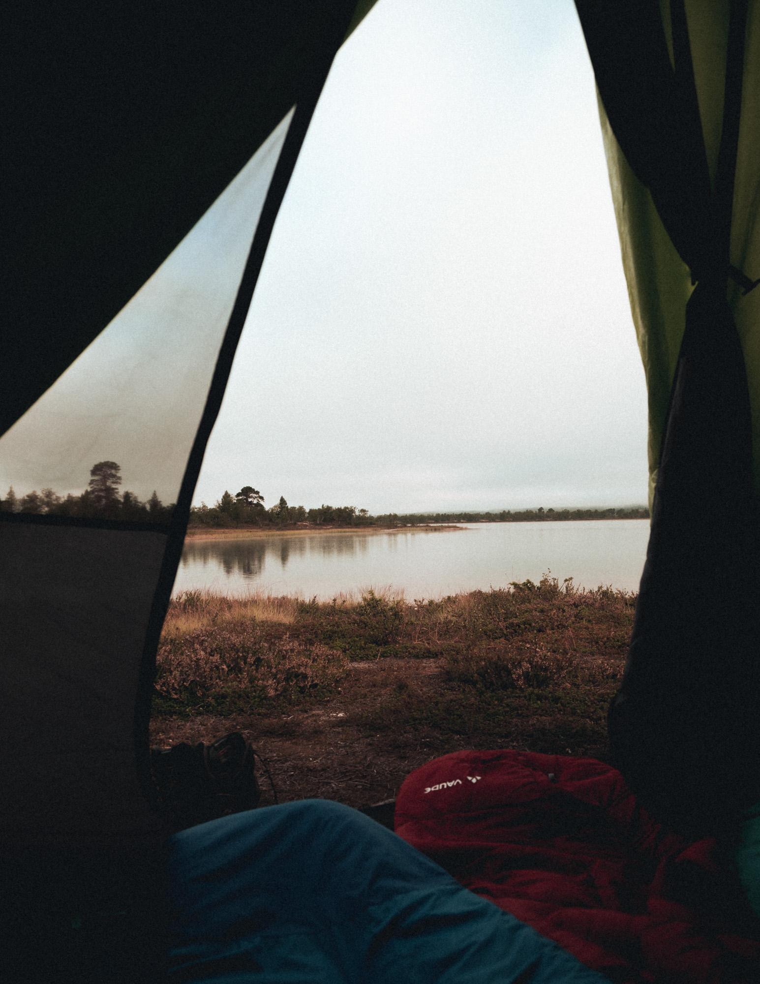 Blick aus Zelt im Nationalpark in Norwegen