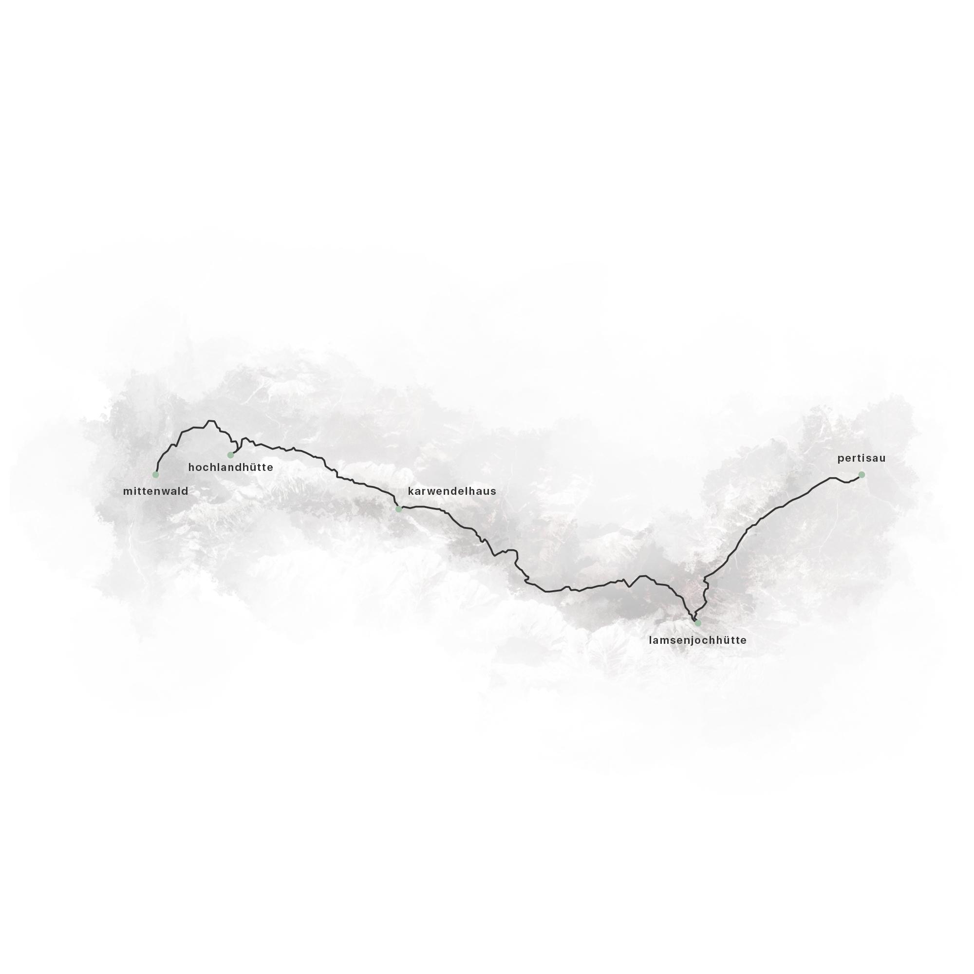 Wanderroute durchs Karwendelgebirge