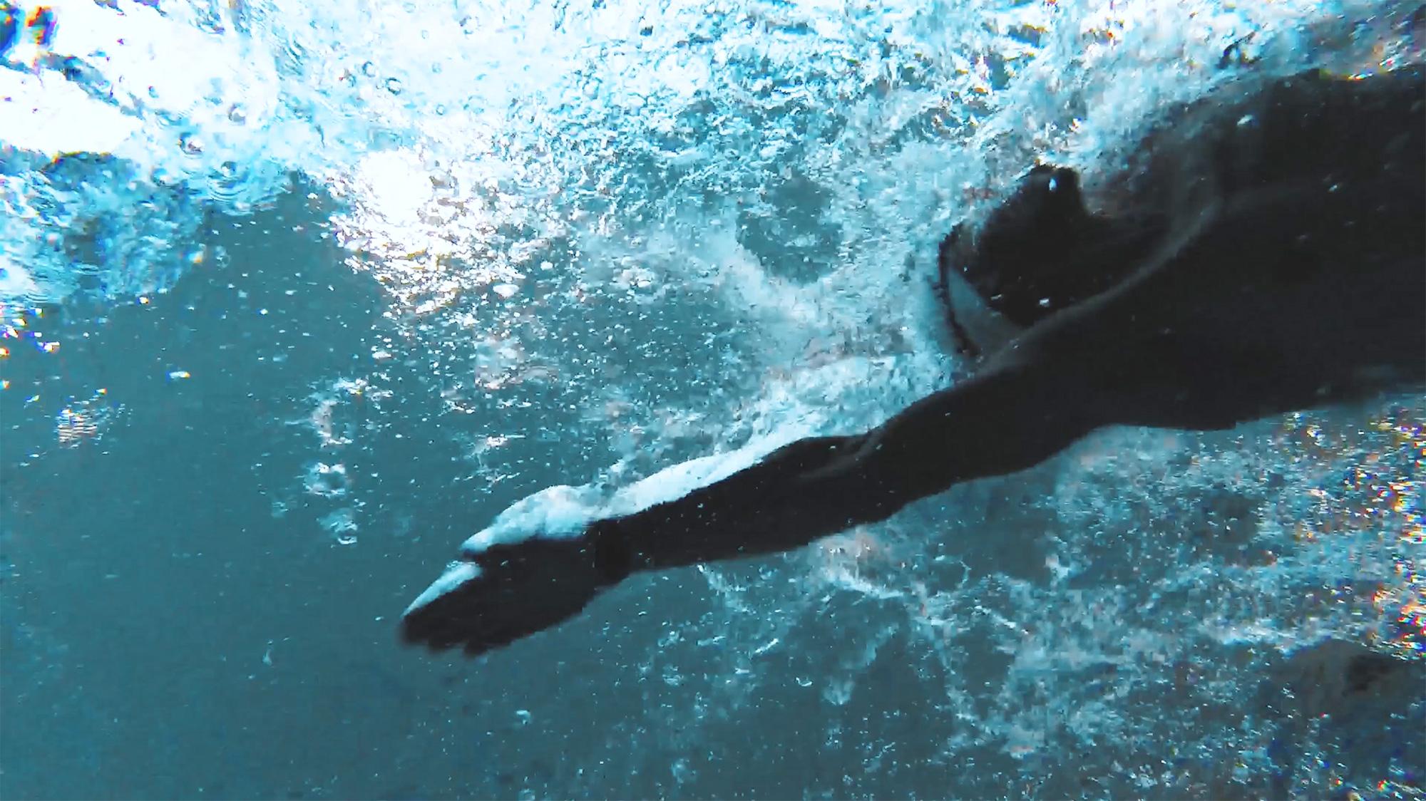 Unterwasseransicht Profischwimmer