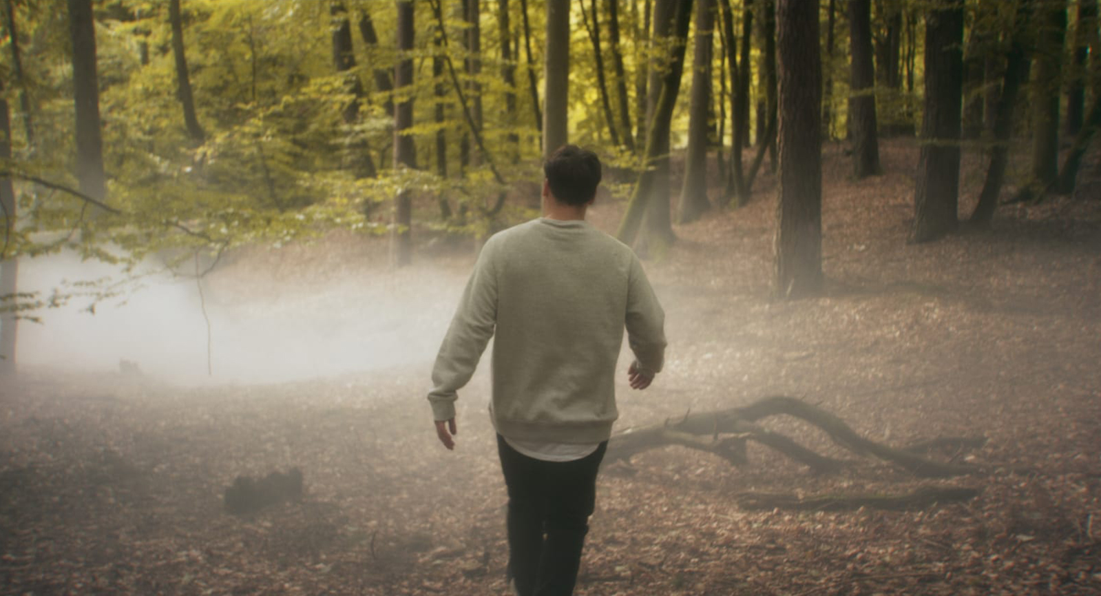 "Still from the short film ""Wegweiser"" Nick alone in the forrest"