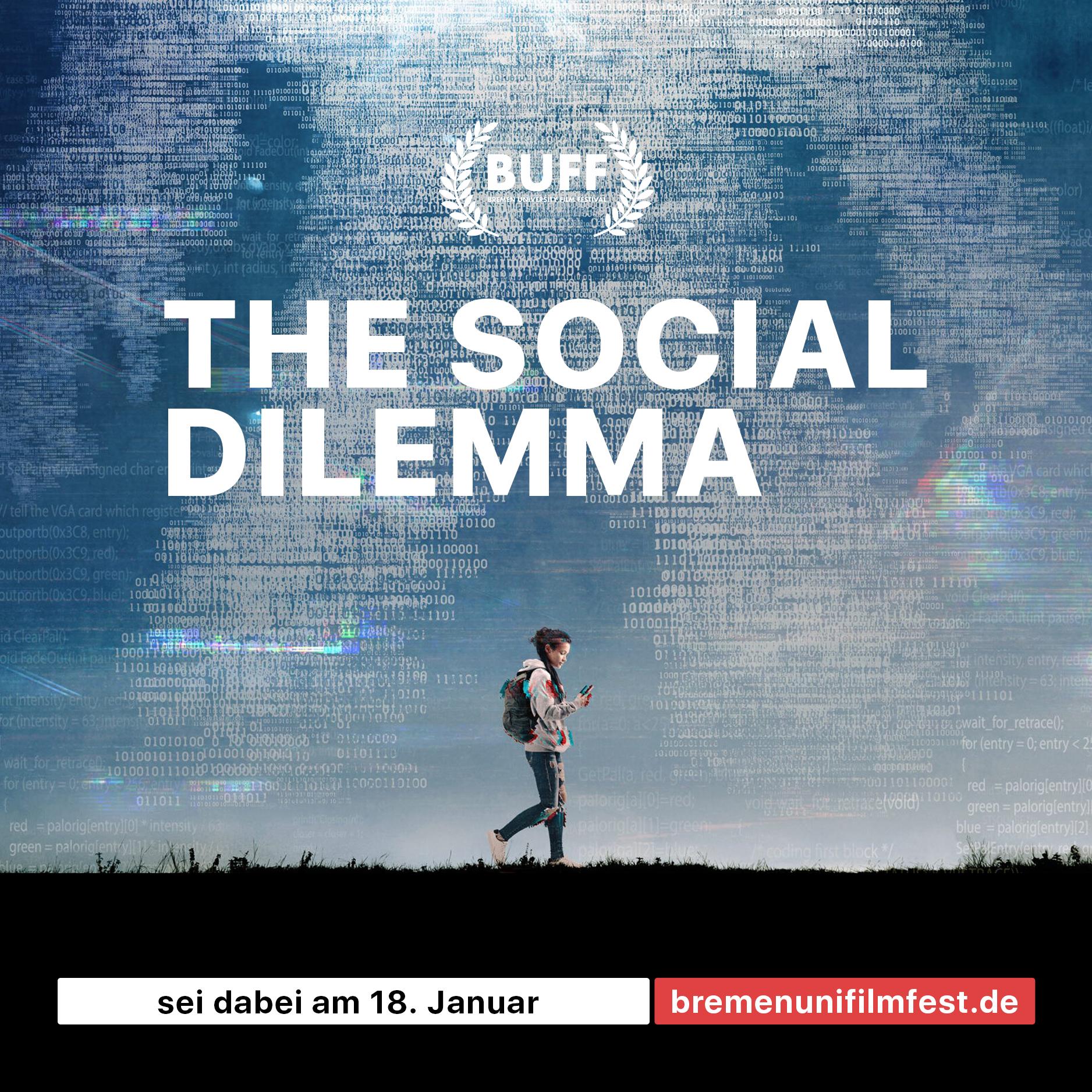 """Advertising Post for the Movie """"The Social Dilemma"""" on Bremen University Film Festival"""