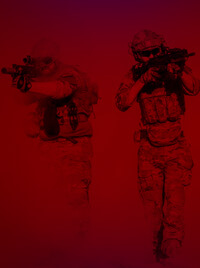 Two men in tactical gear emerging from a haze of snow, rifles in hand.