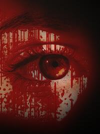 A woman's eye, her skin covered in blood.
