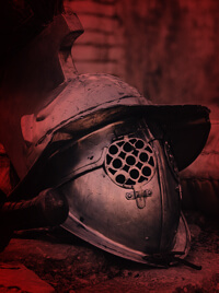 The metallic helmet of a gladiator.