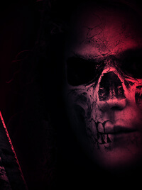 A hooded man with a sword. A skull is painted over his face.