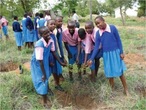 Students conducting experiments in the fields.
