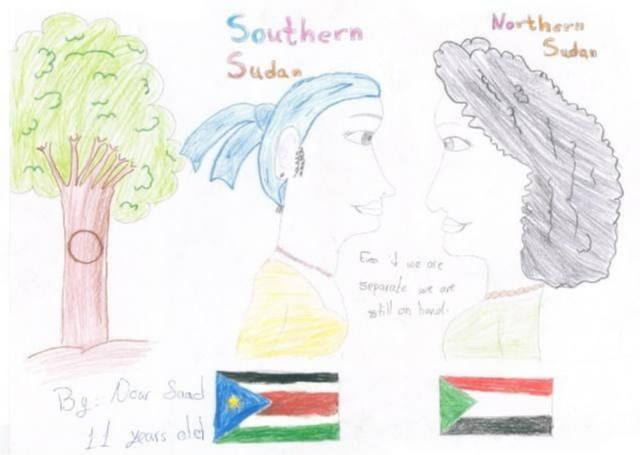A drawing of peace between North and South Sudan.