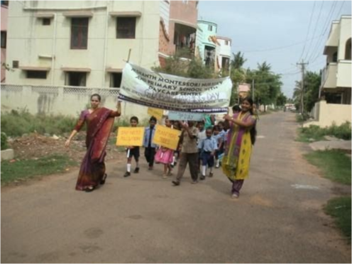 Students parading outside of their school