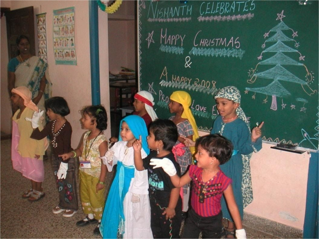 Students performing by singing and movement