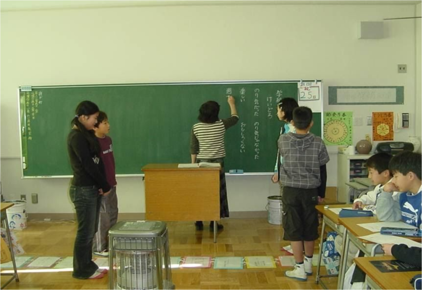 Students at the chalkboard
