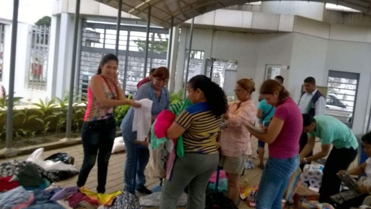 A group sorts through materials