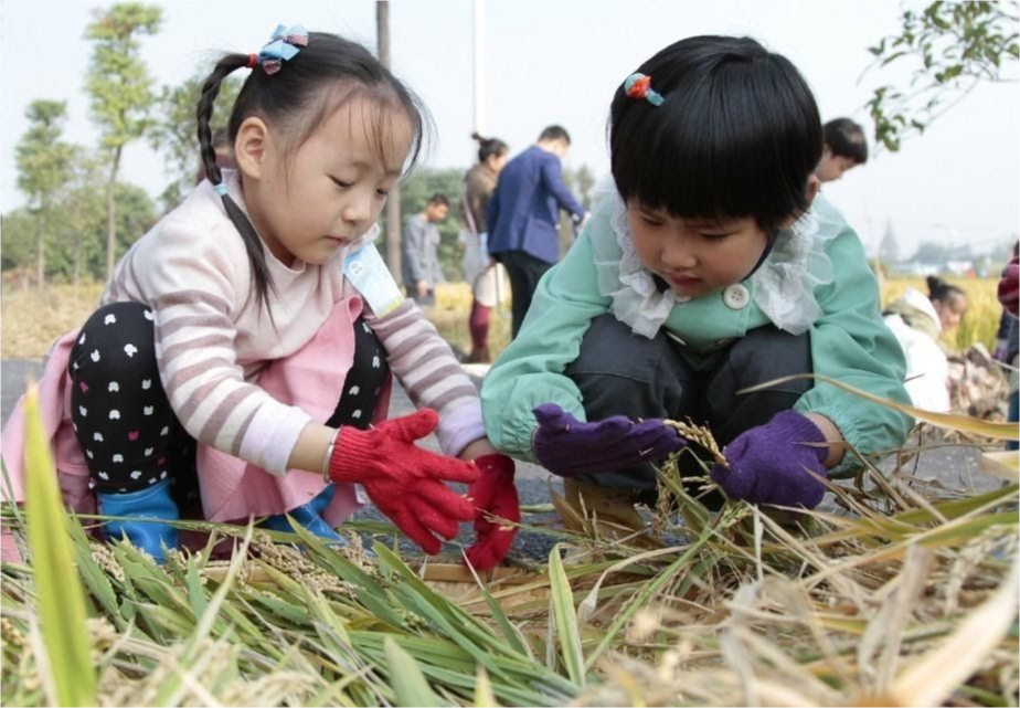 Two children doing a project in a garden