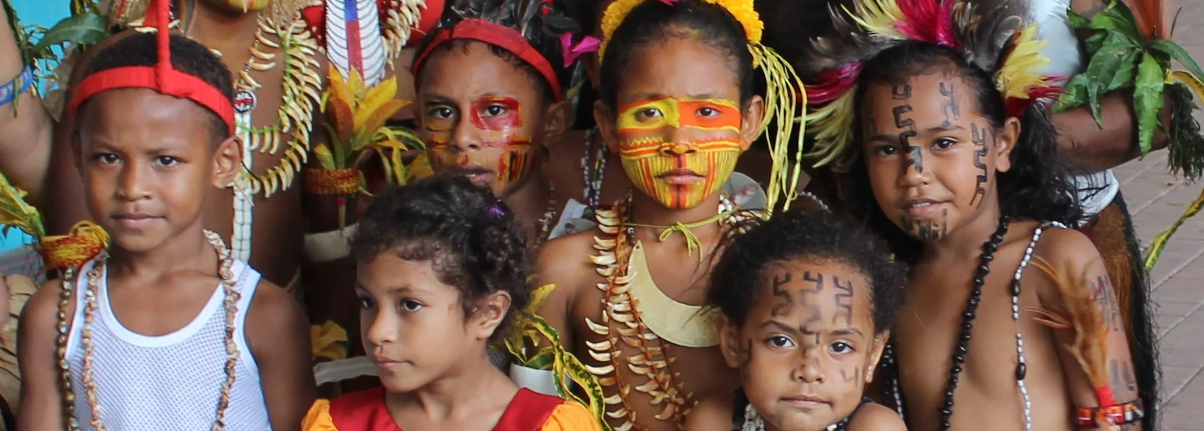 A group of children in their cultural heritage.
