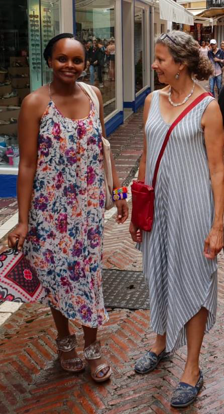 Maureen and Rene on the street in Spain.