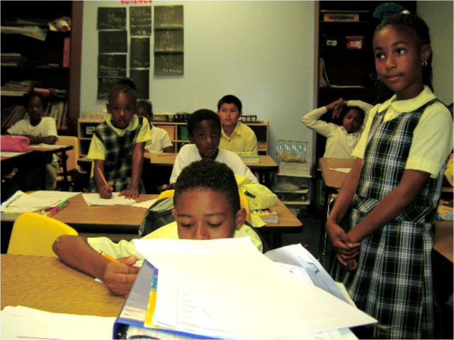 Students patiently working on classwork.