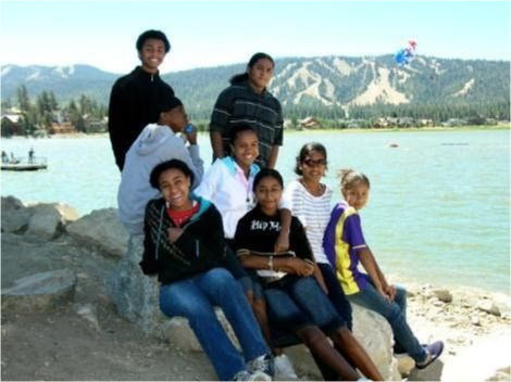 Students sitting at the shoreline.