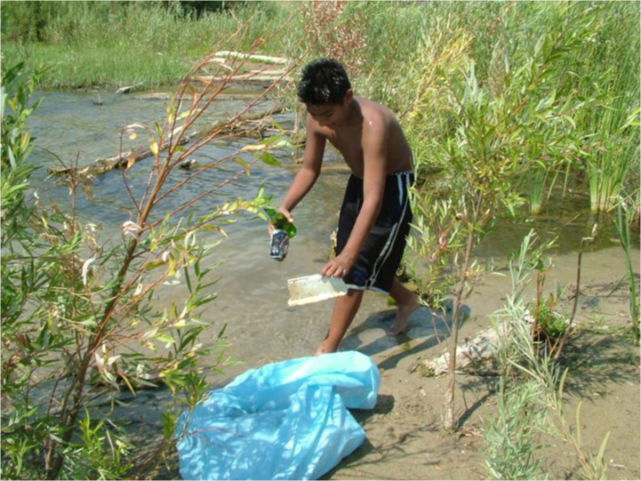 A student at the river.