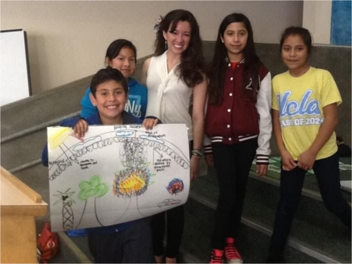 Students with their teacher.