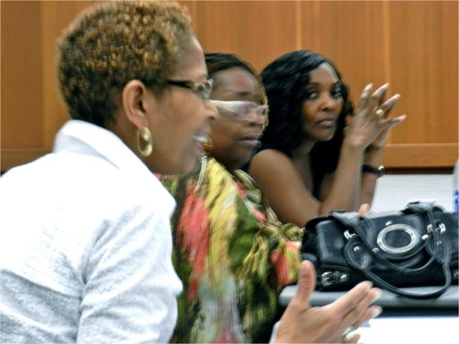Mina Wilson acting on her enthusiasm at a meeting.