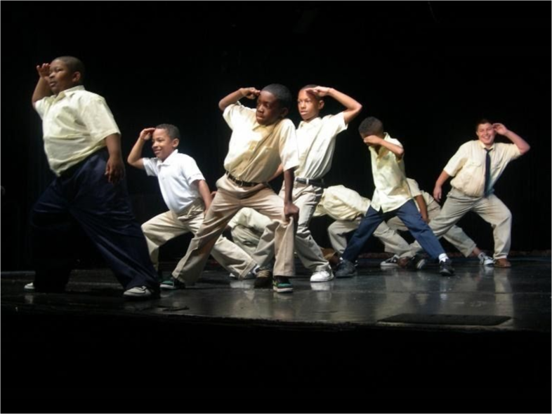 Young boys do a dance performance on stage.