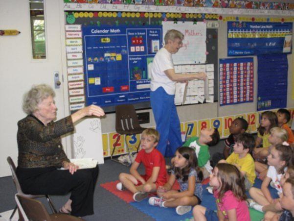 Seniors teach a children's class.