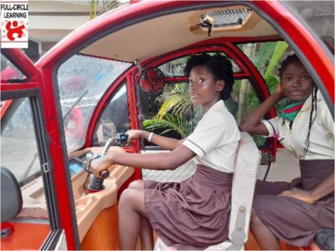 Two students in a vehicle looking out.