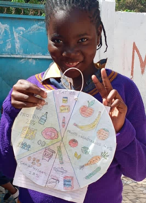 A girl presents here food cycle diagram.