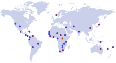 Countires labeled with dots representing FCL locations around the world.