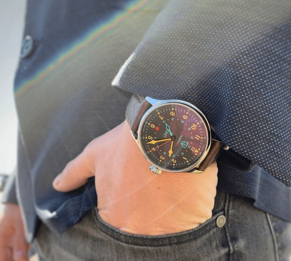 A Towson North.er on the wrist of a well-dressed gentleman.