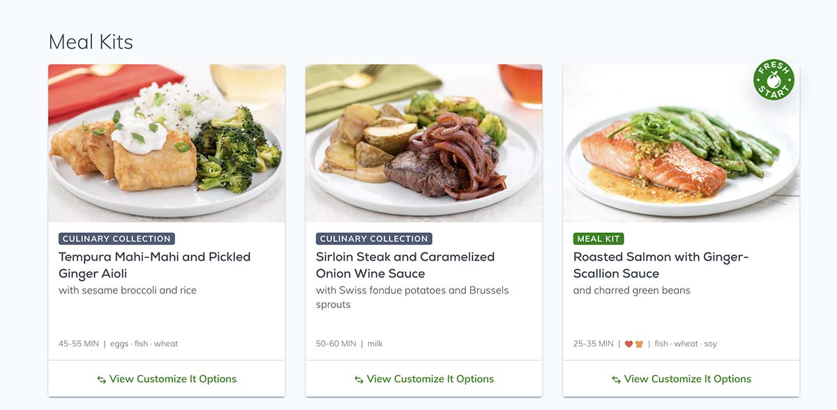 Affordably priced meal kit delivery service offering easy to follow recipes and high quality ingredients.