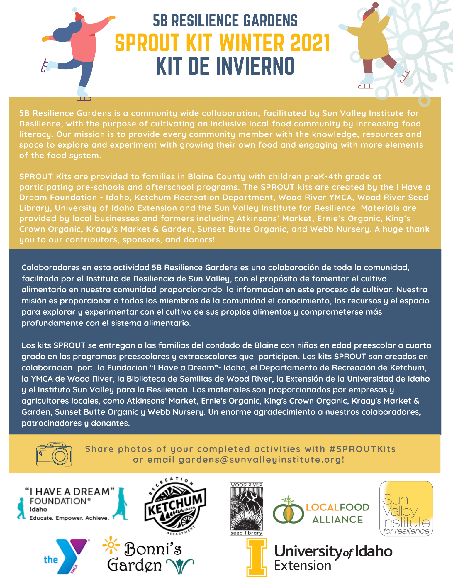 Winter Sprout Kit for environmental literacy in Ketchum Idaho