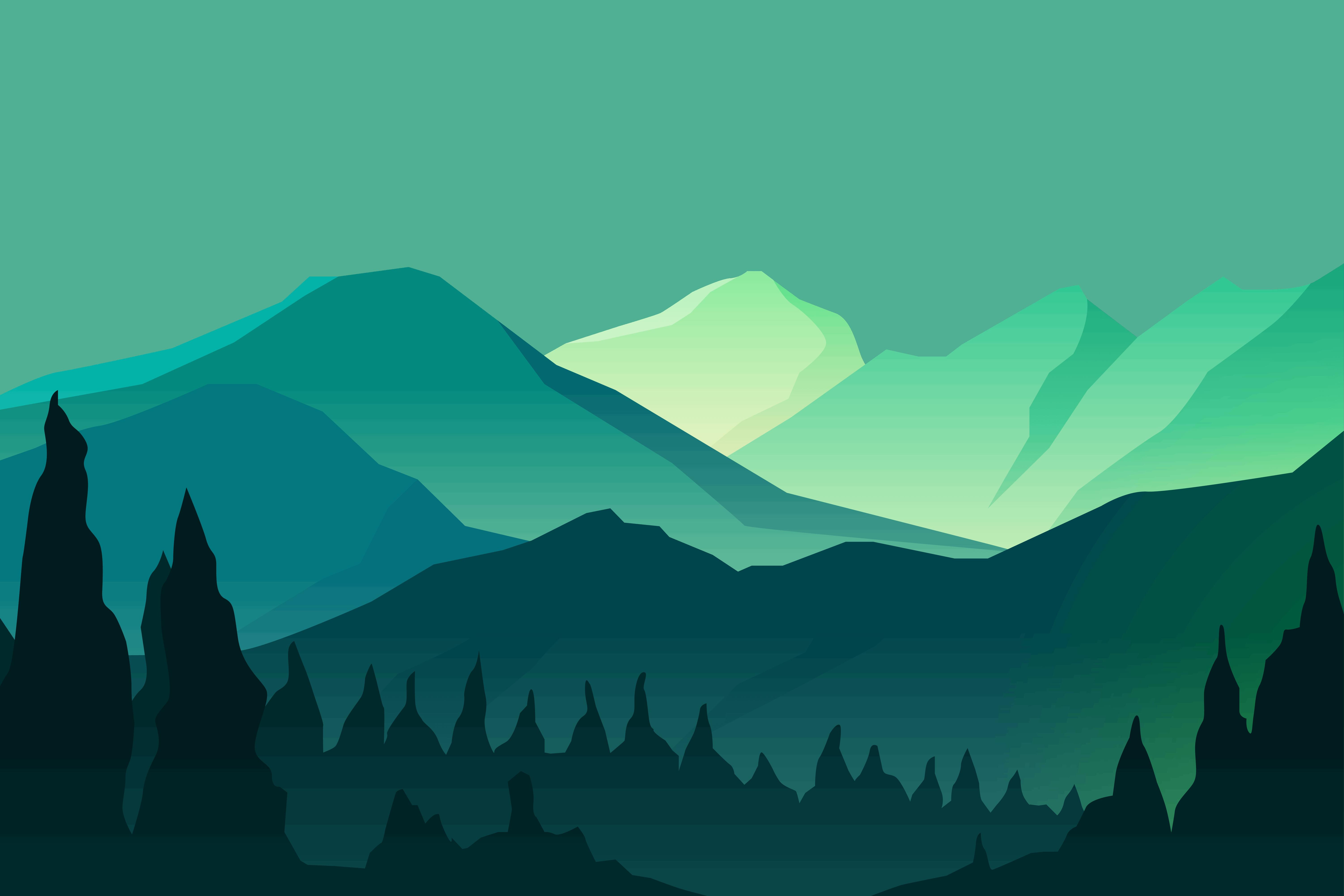 illustrated mountain scene