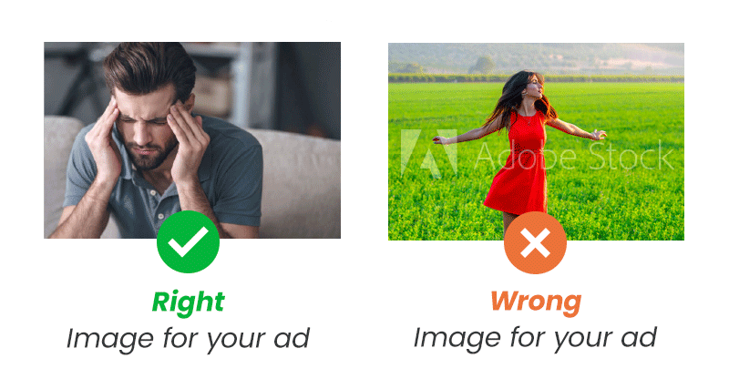 Right and wrong images for medical ads