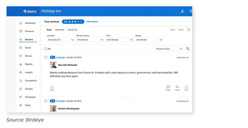 Birdeye review monitoring screenshot