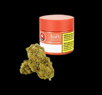 Organic Blue Dream container with dry cannabis bud